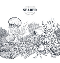 monochrome seamless coral reef pattern vector image