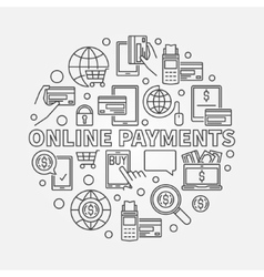 Online payments linear vector image