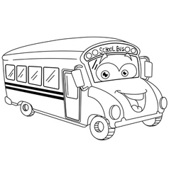 Outlined cartoon school bus vector
