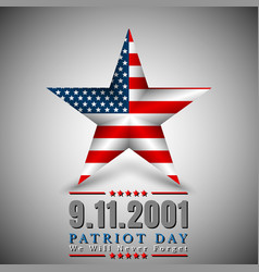 patriot day of usa with star in national flag vector image