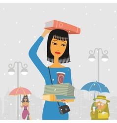 People walk in rain vector