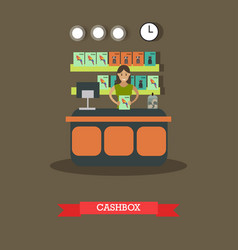 Pet shop cashbox in flat style vector