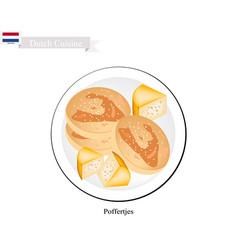 Poffertjes or mini pancake a famous dessert of ne vector
