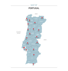 Portugal map with red pin vector