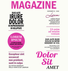 Realistic magazine front page template vector