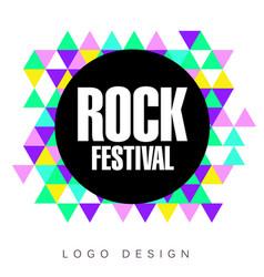 rock festival logo template creative banner vector image