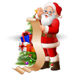 Santa claus reading a long list of gifts vector