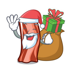 Santa with gift ribs mascot cartoon style vector
