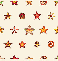 seamless festive pattern with hand-drawn tars and vector image