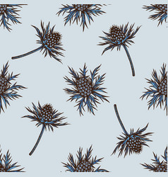 seamless pattern with hand drawn colored blue vector image