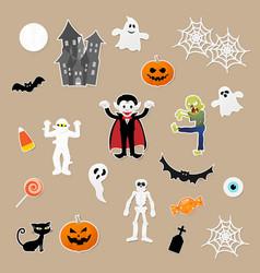 set characters in cartoon style halloween vector image