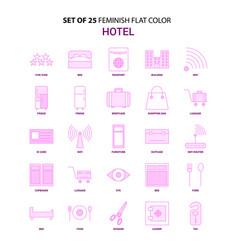 set of 25 feminish hotel flat color pink icon set vector image