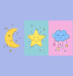 Set posters yellow sleepy moon vector