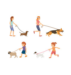 set teenage and kids walking with dogs vector image