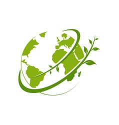simple green earth logo template vector image