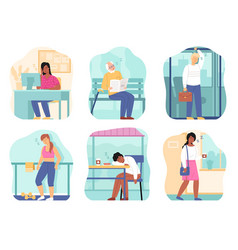 sleepy people tired persons in different places vector image