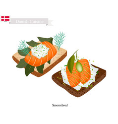 smorrebrod with smoked salmon the national dish o vector image