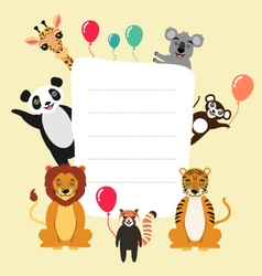 Template with cartoon animals vector