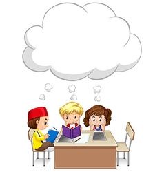 Three kids studying on table vector