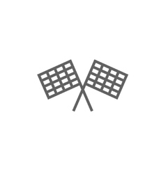 Two checkered flags line icon vector image