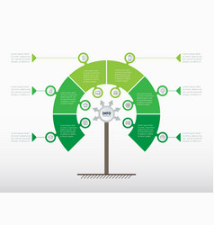 Vertical timeline or green infographics tree of vector
