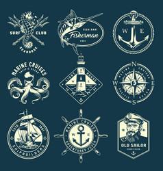 vintage monochrome marine labels vector image
