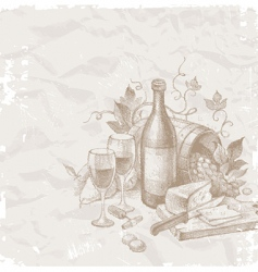 wine and food vector image