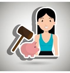 Woman piggy saving money vector