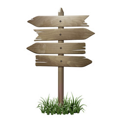 Wooden signboard in a grass vector