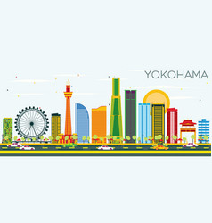 Yokohama skyline with color buildings and blue sky vector