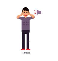 Young man with tinnitus - symptom vector