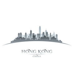 hong kong china city skyline silhouette white vector image vector image