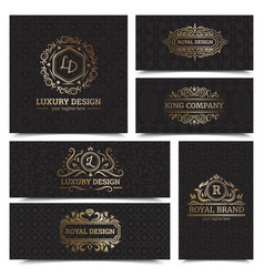 luxury products labels design set vector image vector image