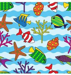 seamless pattern with colorful fish and coral vector image