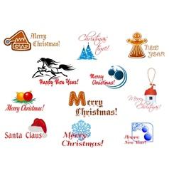 Winter holidays symbols vector image vector image