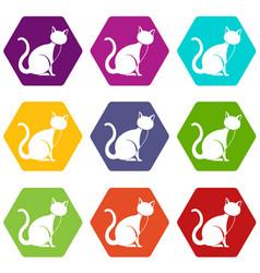 black cat icon set color hexahedron vector image