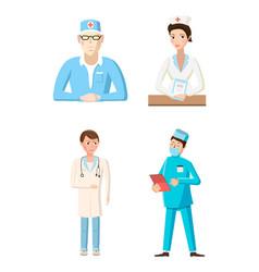doctor icon set cartoon style vector image vector image
