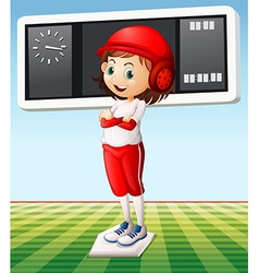 Girl in baseball outfit in the field vector image vector image
