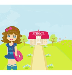 happy little girl going to school vector image
