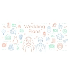 Wedding plans thin line flat background vector image vector image