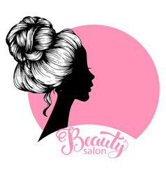woman beautiful silhouette with hair style vector image vector image