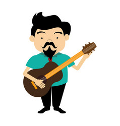 colorful silhouette singer with acoustic guitar vector image