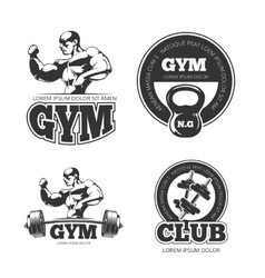 Fitness set of emblems labels badges vector image vector image
