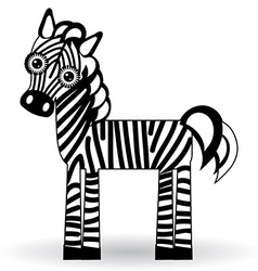Funny zebra on white background vector image vector image