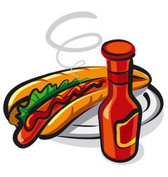 hotdog on plate vector image vector image