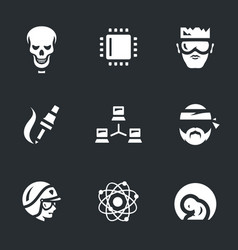 set of artificial intelligence icons vector image