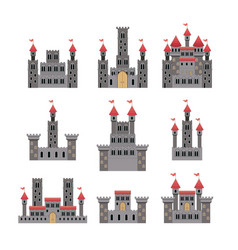 set of castles of fairy tales in white background vector image