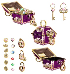 treasure chest with pink ornaments vector image vector image