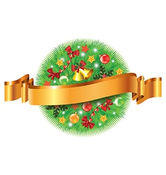 christmas sphere ribbon vector image