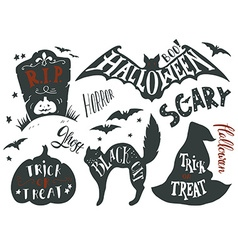 Collection of Halloween symbols with hand vector image